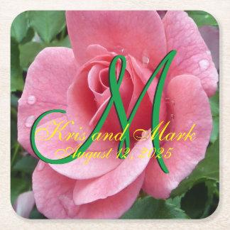 Wet Pink Rose Monogram Square Paper Coaster