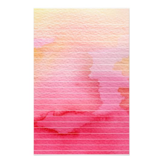 Wet Pink Watercolor Lined Stationery