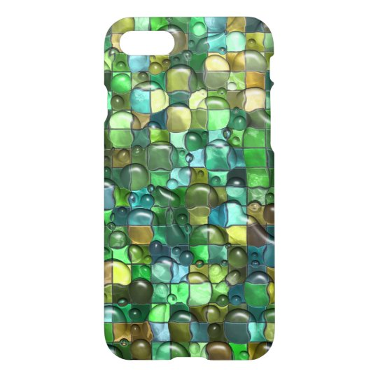 Wet Water Green Yellow Square Tile Mosaic Pattern iPhone 7 Case