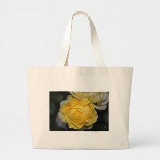 Wet Yellow Rose Large Tote Bag