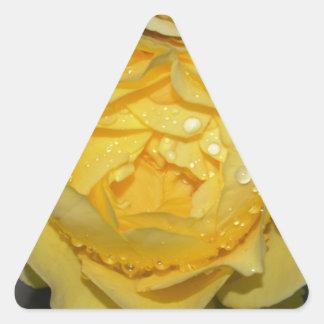 Wet Yellow Rose Triangle Sticker