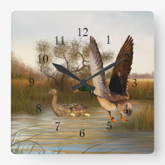 Wetland Ducks in Flight Square Square Wall Clock