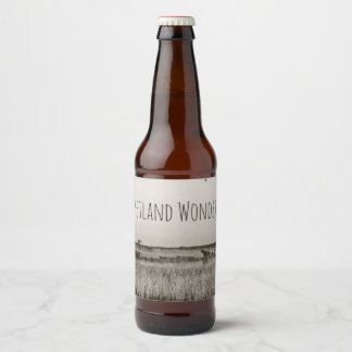 Wetland Marshland Antique Aged Sepia Riverboats Beer Bottle Label