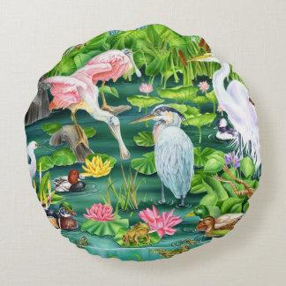 Wetland Wonders Round Pillow