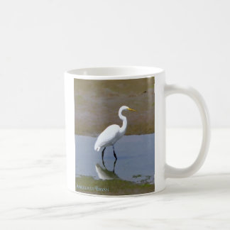 Wetlands Egret Digital Watercolor Coffee Mug