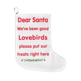 we've been good lovebirds large christmas stocking