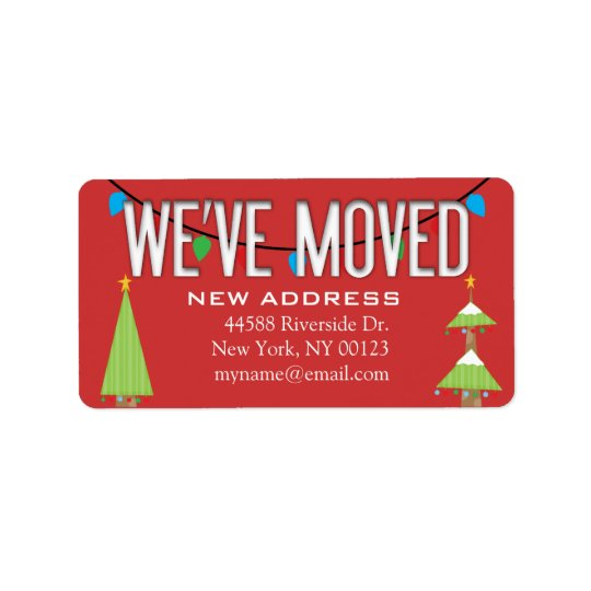 """We've Moved"" Address Change CHRISTMAS Label"