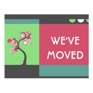 we've moved announcement : retro tree postcard