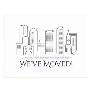 We've Moved Boston City Skyline Postcard