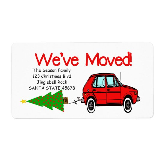 We've Moved Car and tree Christmas label Shipping Label
