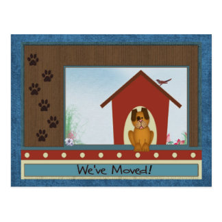 We've Moved Cute Doghouse and Paw Prints New Home Postcard