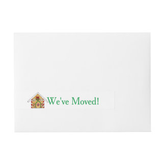 We've Moved Gingerbread house Christmas label Wraparound Address Label