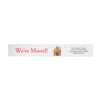 We've Moved Gingerbread house  Christmas label Wraparound Return Address Label