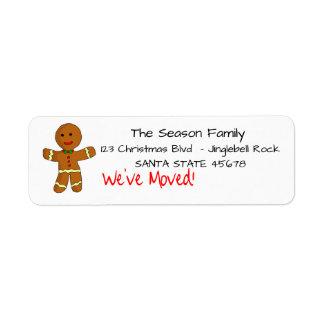 We've Moved Gingerbread man  Christmas label Return Address Label