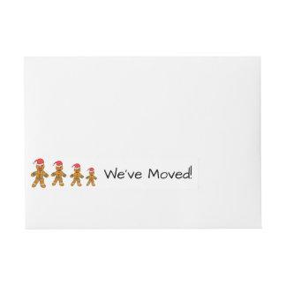 We've Moved Gingerbread men  Christmas label Wraparound Address Label