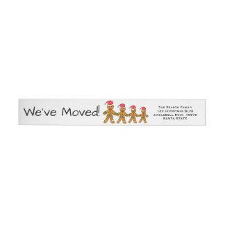 We've Moved Gingerbread men  Christmas label Wraparound Return Address Label