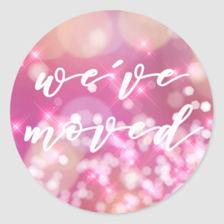 We've moved  | Glamorous Pink Sparkle Stickers