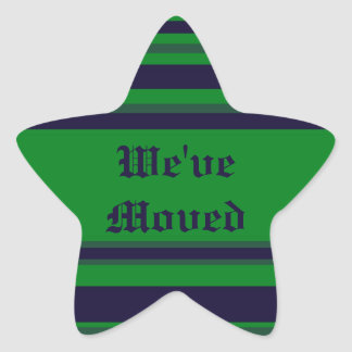 We've Moved green blue stripes Star Sticker
