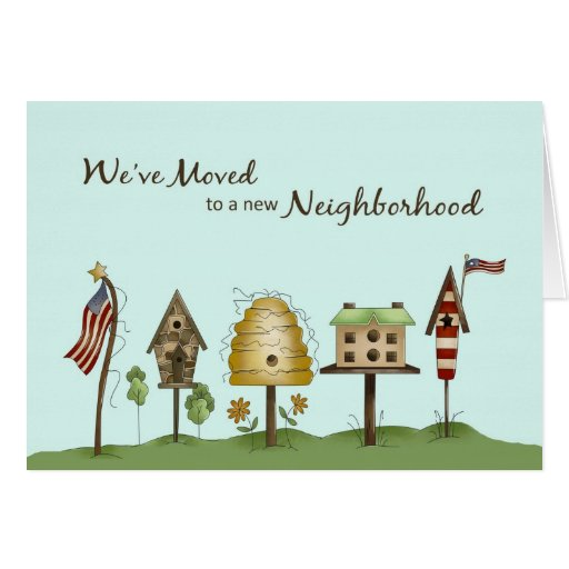 We've Moved / New Address Birdhouses & Flags Greeting Cards