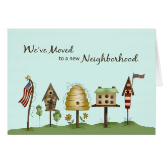 We've Moved / New Address Birdhouses & Flags Greeting Card