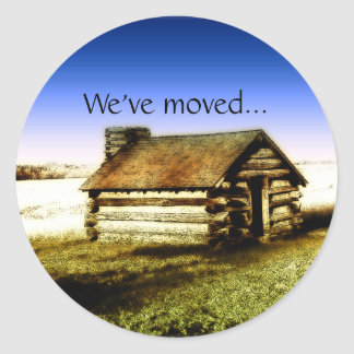 We've Moved Old Log Cabin Round Sticker