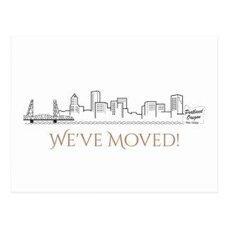 We've Moved Portland City Skyline Postcard
