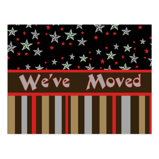 We've Moved red and tan stars and stripes Postcard