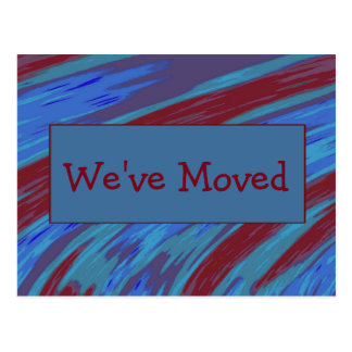We've Moved Red Blue Swish Abstract Postcard