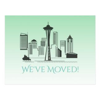 We've Moved Seattle City Skyline Postcard