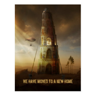 We've moved to a new home | Large Surreal Tower Postcard
