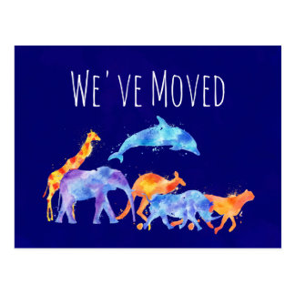 We've Moved Wild Animal Herd Colorful Watercolor Postcard