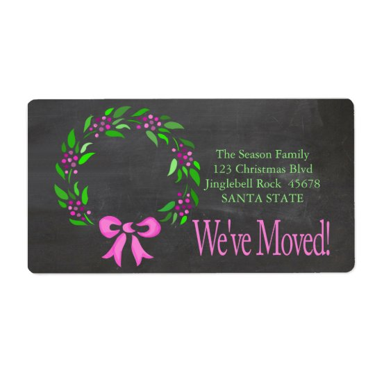 We've Moved x-mas wreath Holiday Label Shipping Label