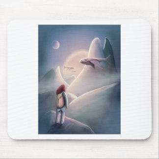 Whal Girl hiking on the alien planet of the flying Mouse Pad