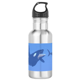 Whale and megalodon underwater - 3D render 532 Ml Water Bottle