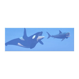 Whale and megalodon underwater - 3D render Canvas Print