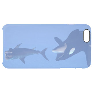 Whale and megalodon underwater - 3D render Clear iPhone 6 Plus Case