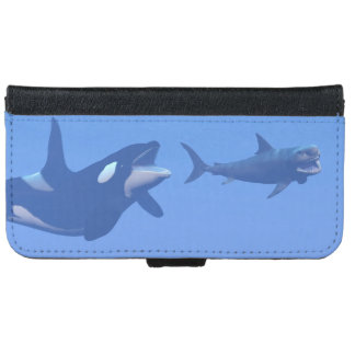 Whale and megalodon underwater - 3D render iPhone 6 Wallet Case