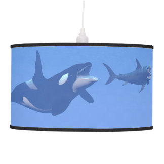 Whale and megalodon underwater - 3D render Pendant Lamp