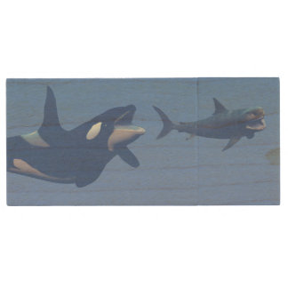 Whale and megalodon underwater - 3D render Wood USB Flash Drive