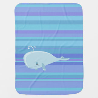 Whale and stripes cute baby blanket