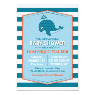 "Whale Baby Shower Invitation 5"" X 7"" Invitation Card"