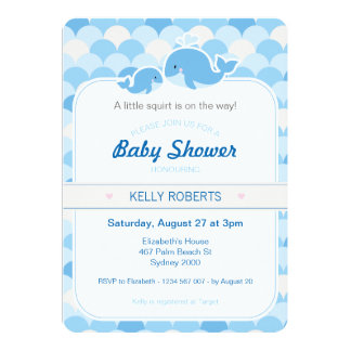 Whale Baby Shower Invitation - Blue