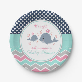 Whale Baby Shower Paper Plate Girl Chevron Polka