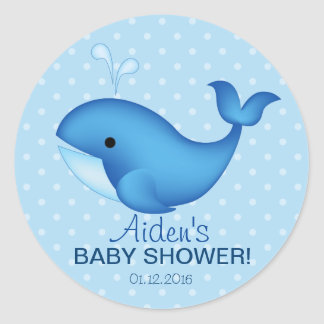 Whale Baby shower thank you sticker