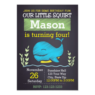 Whale Birthday Invitation (boy)