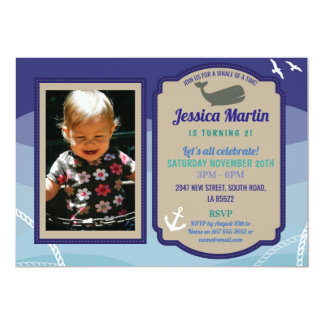 Whale birthday Invitation Fun Sea Photo Invite