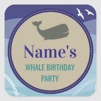 Whale Birthday Party Stickers Blue Ocean Anchor