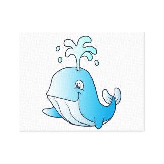 whale cartoon canvas print