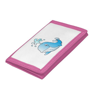 whale cartoon trifold wallet