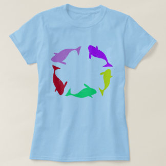 Whale Circle on Ocean Blue Background T-Shirt